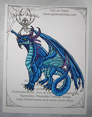 Huge Fire Keeper Dragon Blue Iron on Patch