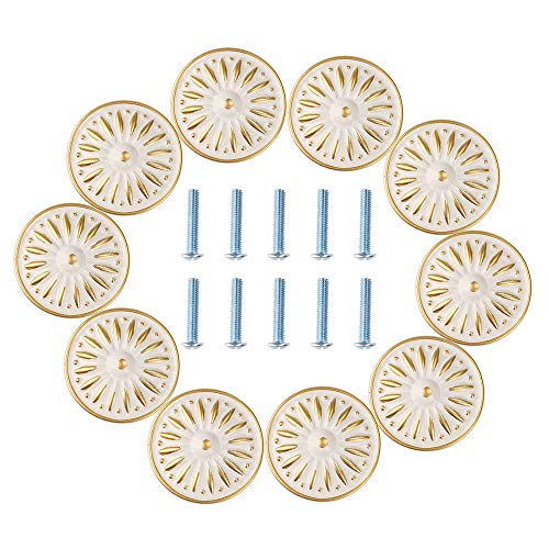 (Cabinet Knob, RilexAwhile Ivory White 33mm Drawer Knobs Door Pull Handle for Dresser Cupboard Cabinet Wardrobe, 10 Pack)