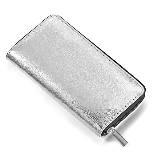 Dondon Wallet Purse For Soft Woman With Metallic Appearance Zipper Rose Gold 20 X 10 X 2.5 Cm Silver