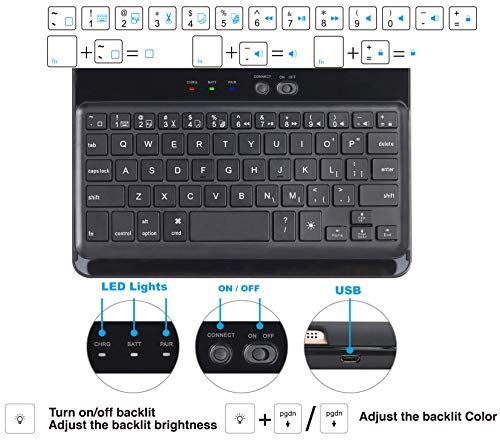 LENRICH iPad Mini 5 2019 case Keyboard for iPad Mini 4 2015 7.9 inch Backlit, 7 Color Backlight 360 Degree Rotatable 180 Flip Swivel Wireless Folio Cover Hard Shell Auto Sleep Wake up Black