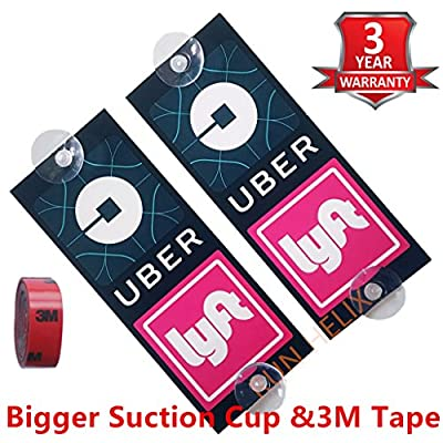 UBER Lyft Removable Sign Decal 2 Pack New Uber Lyft Logo Laminated with Bigger Suction Cups-Parent