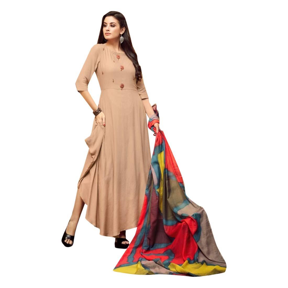 Stylish Indian Designer Silk Kurti with Printed Dupatta for Women Formal Kurta Festive wear 7519