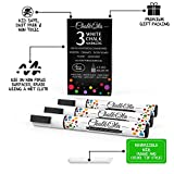 White Chalk Markers - Pack of 3 chalk pens - Use on Chalkboard, Windows, Blackboard, Signs, Glass, Bistro - Water based wet wipe erasable pen - 4.5 mm Reversible bullet & chisel Tip
