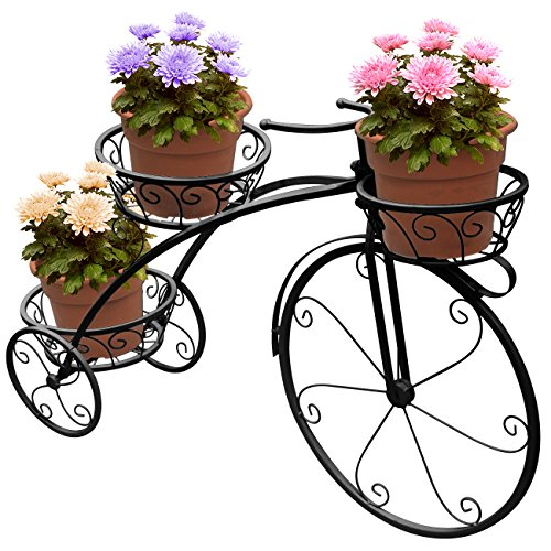 Hand Painted Plant Stand - Sorbus Tricycle Plant Stand - Flower Pot Cart Holder - Ideal for Home, Garden, Patio - Great Gift for Plant Lovers, Housewarming, Mother's Day - Parisian Style (Black)