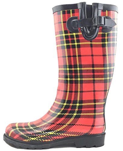 - Cambridge Select Women's Pattern Print Colorful Waterproof Welly Rain Boots,10 M US,Tartan Plaid