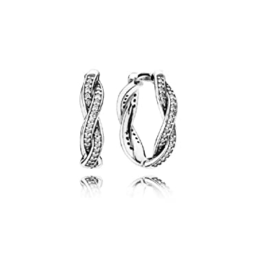 9a33f7ac5 Amazon.com: Pandora Twist of Faith Silver Hoop Earrings With Clear Cubic  Zirconia 290576CZ: Jewelry