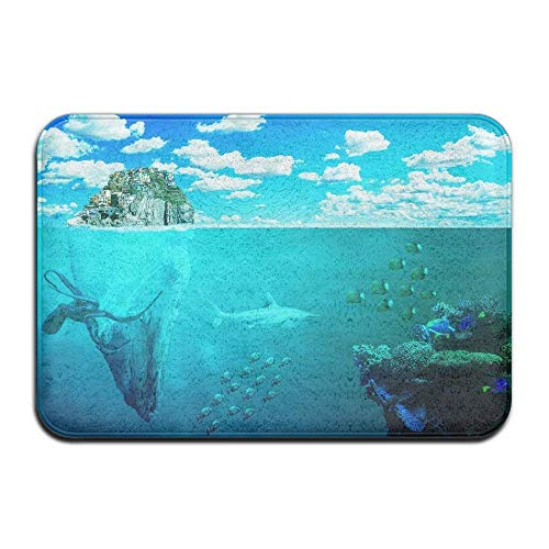 (Azure Blue Underwater Sealife Home Door Mat Super Absorbent Non Slip Front Floor Mat,Soft Coral Memory Foam Carpet Bathroom Rubber Entrance Rugs for Indoor)