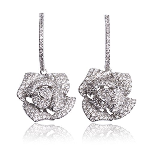 MISASHA Inspired Design Real White Gold Plated zircon camellia flower party wedding gift earrings studs (New Chanel Sunglasses)