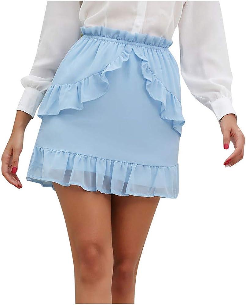 Faldas Cortas Mujer Mini Falda con Volantes de Gasa Color sólido ...