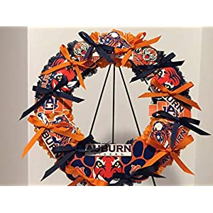 COLLEGE PRIDE - SPIRIT - AU - AUBURN UNIVERSITY 3 - TIGERS - AUBIE THE TIGER - DORM DECOR - DORM ROOM - COLLECTOR WREATH - ORANGE MUMS AND NAVY BLUE CARNATIONS 106