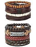 REVOLIA 8Pcs Braided Leather Bracelets for Men Women Wooden Beaded Bracelets Cuff