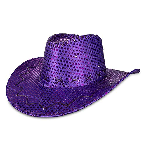 LED Light Up Purple Sequin Cowboy Party -