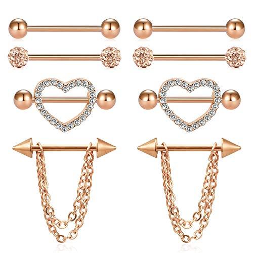 FECTAS 14G Nipplerings Nipple Rings Piercing Strainght Barbells Stainless Steel Jewelry for Women ()