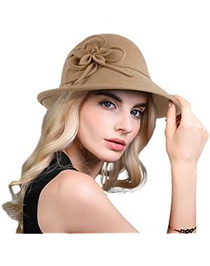 Women's Elegant Flower Wool Cloche Bucket Bowler Hat