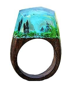 Handmade Wood Resin Rings Secret Forest Landscape Inside Ring Jewelry For Unisex (Style1, 7)