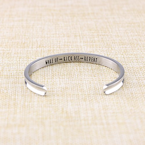 Yiyang Motivational Cuff Bracelets for Women Wake Up Kick Ass Repeat Stainless Steel Feminist Jewelry Gift for Her (Inner Graved) by Yiyang (Image #2)