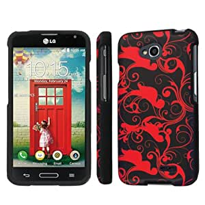 NakedShield LG Optimus Exceed 2 (Red Swirl) Total Hard Armor LifeStyle Phone Case