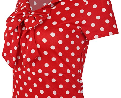Sleeve Business V oxiuly Short Bodycon Red Bowknot Dress Dot Party OX034 Silm Neck Print Pencil Women's Casual qIHwYIz
