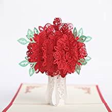 Mothers Day Greeting Card -Rose Bouquet 3D Pop Up Cards for Mom Fantastic Flower Handmade Gift Card, Birthday Anniversary Invitation Wedding Love Gifts (Red Rose)