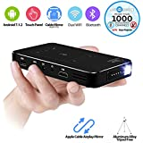 Portable Projector, LiveTV.Direct M8T Touch Panel Mini Android Smart Projector Slim Wireless with Batteries and LiveTV (Black - 32GB/HDMI-IN)