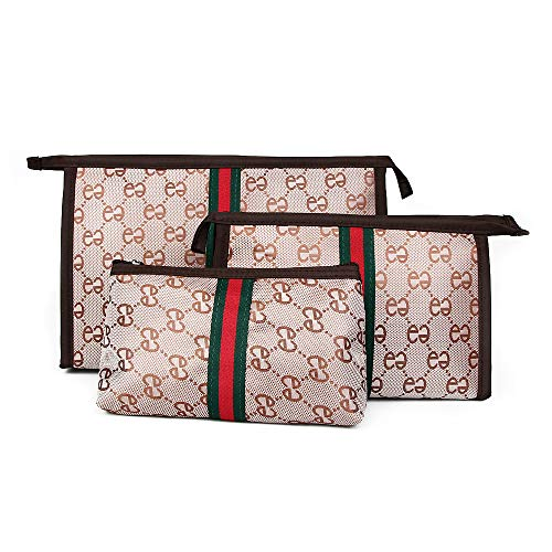 Beatfull Cosmetic Bag Set of 3 for Purse, Designer Makeup Bag Sets Small Travel Toiletry Bags Purse for Women Girls Brown