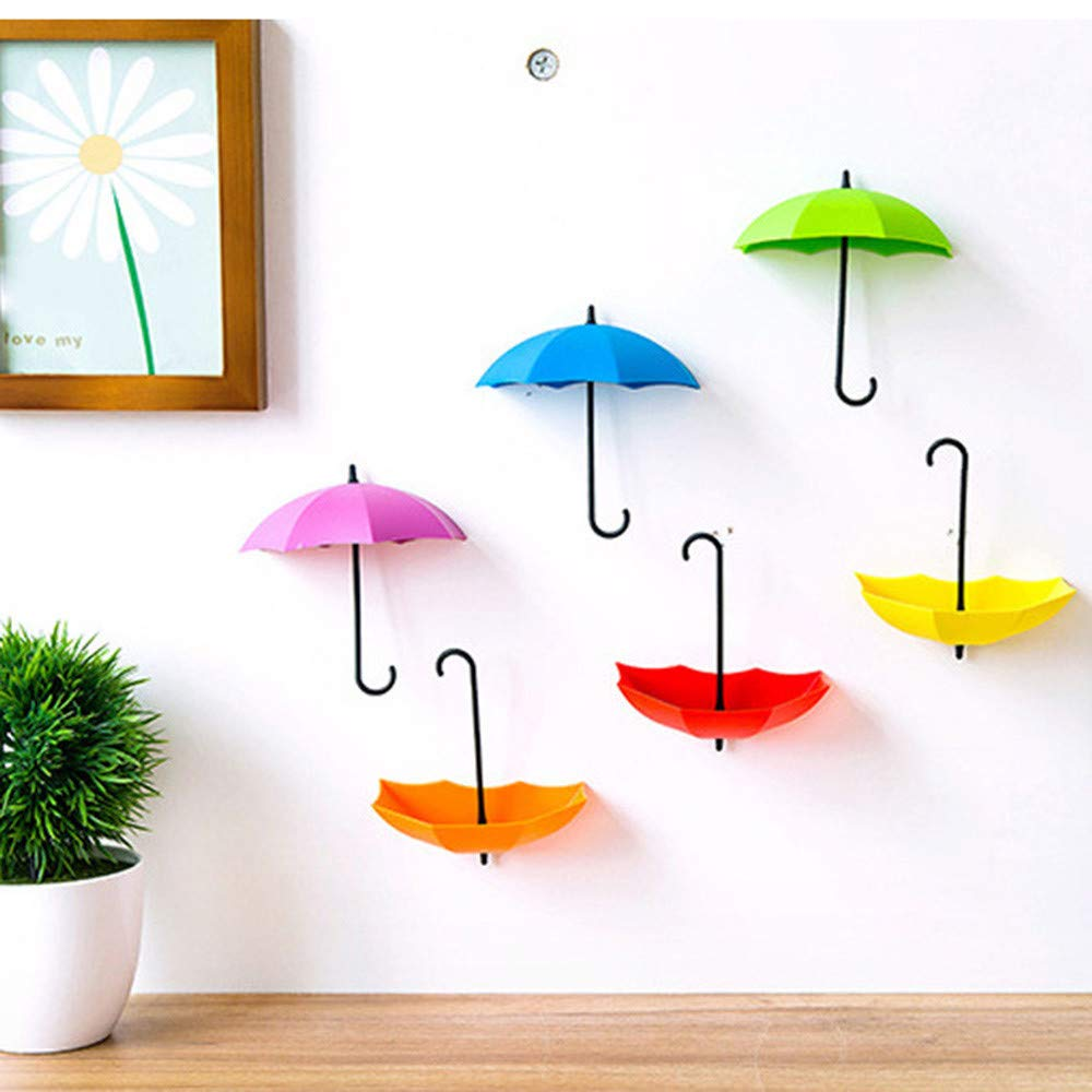 Colorful Umbrella Wall Hooks Key Wall Holder Organizer Decorative Wall Hanging Hooks Key Hangers for Wall Organizer Home Office Supplier Set of 6 (6pcs)