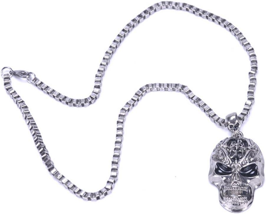 FENICAL Colgante de Collar de Aleaci/ón Estilo Cr/áneo Punky de los Hombres con Cadena para Decoraci/ón de Fiesta de Halloween Plata