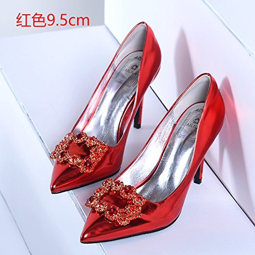 bridal high drilling boots with evening 38 Pumps water Sandals red Heels 5cm crystal Court shoes High HUAIHAIZ shoes Wedding lady Shoes heels shoes 9 qaO8vWw