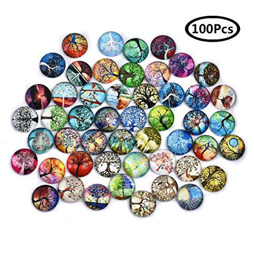 DROLE 100Pcs 12mm Tree of Life Glass Dome Cabochons Printed Half Round Gems for Jewelry Making Handcrafts DIY Findings 12mm Cabochon