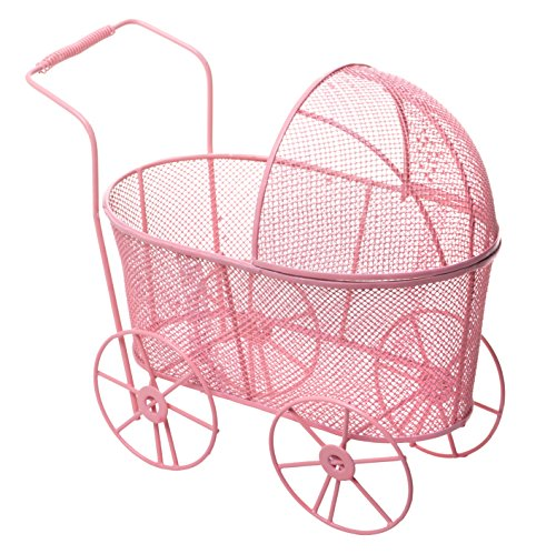 Adorable Baby Shower Centerpiece, Decorative Stroller Carriage Basket, Pink, 8-inch