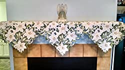 Fireplace Mantel Scarf with White Lilies Handmade, Size 84 x 27 inches by DoilyBoutique