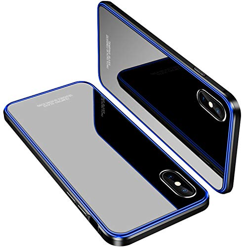 iPhone X Bumper Case,MOBYFL Slim Metal Frame [ Full Protection] Tempered Glass Back [Shockproof Anti-Scratch ] Hard Case for Apple iPhone X/iPhone 10 (Blue)