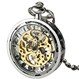 SIBOSUN Antique Open Face Silver Pocket Watch Hand Wind Skeleton Mechanical Analog Unisex