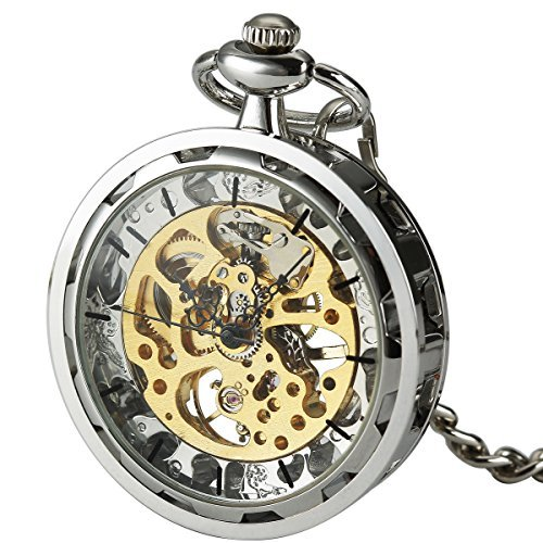 SIBOSUN Antique Open Face Silver Pocket Watch Hand Wind Skeleton Mechanical Analog Unisex by SIBOSUN