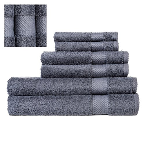 Turkish Towel Set 6 Piece,100% Cotton,2 Bath Towels, 2 Hand Towels and 2 Washcloths, Machine Washable, Hotel Quality, Super Soft and Highly Absorbent by IXIRHOME (Steel Blue )