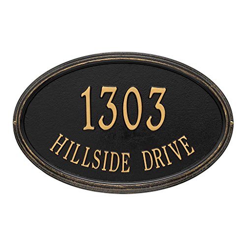 Comfort House Address Plaque - Oval Shape Two Line Metal Address Sign Personalized With Your House Number and Street Name P2691 for wall mount