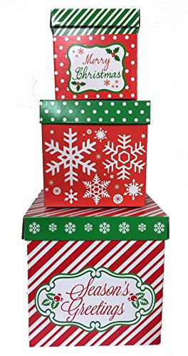 3 Christmas Gift Boxes w/ Lids Nesting Tiered Cubes for Display or Presents -