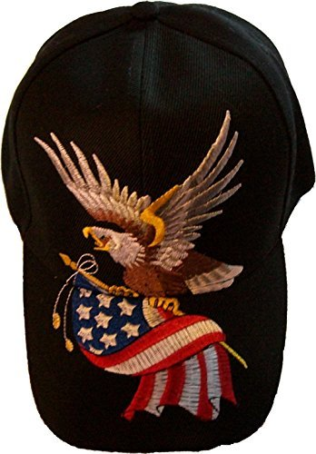 Black Patriotic Baseball Cap American Flag Bald Eagle Hat Red White and Blue (Flag Eagle Embroidery)