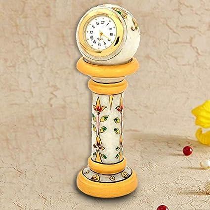 Gift Shop Ethnic Design Marble Table Clock Handicraft -145