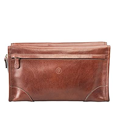Maxwell Scott® Luxury Tan Leather Wash Bag for Men (The Tanta) - One Size