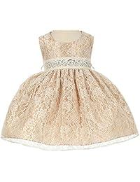 Flower Girl Dress Overlay Lace with Rhinestone Belt