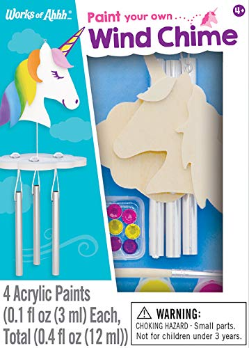 - MasterPieces Works of Ahhh Real Wood Small Acrylic Paint & Craft Kit, Unicorn Windchime, for Ages 4+
