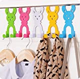 back door hook free nail hangers,stainless steel sticky hooks wrought iron coat rack set of 5 (Set of 5 Rabbits)
