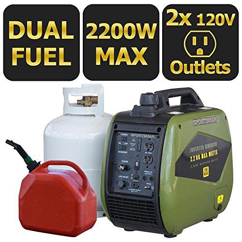 Sportsman 2,200-Watt Dual Fuel LPG/Gasoline Powered Recoil Start Portable Digital Inverter Generator with Parallel Capab