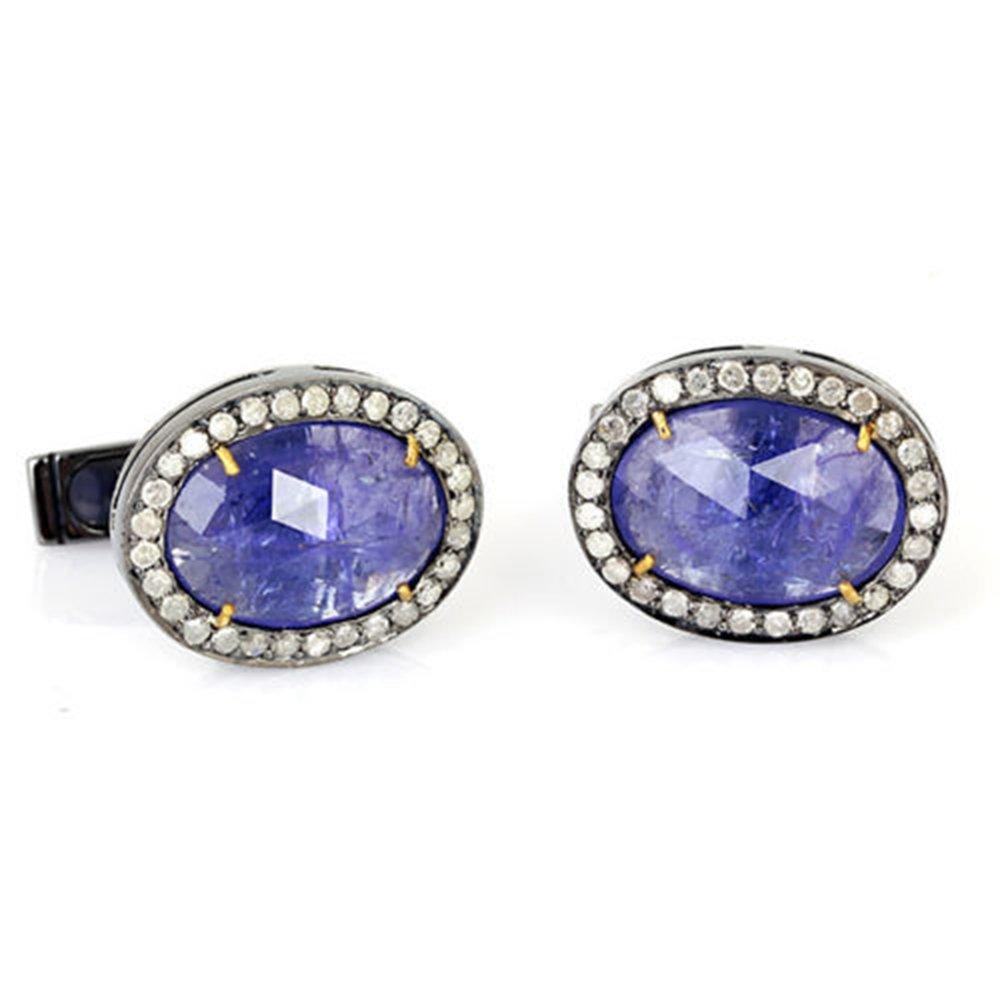 9.6ct Tanzanite Pave Diamond 14kt Gold 925 Sterling Silver Cufflinks Men Jewelry