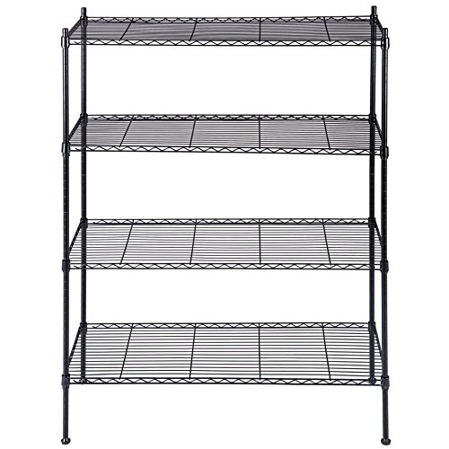 New 4-Tier Silver Shelf Closet Book Display Metal Frame Strong welded wire construction Narrow Shelving Organizer Heavy Duty #444 (Box Plans Fireplace Wood)