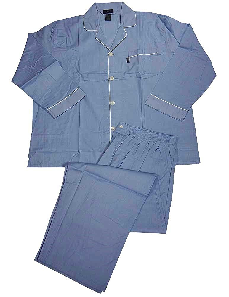 Izod - Mens Tall Long Sleeve Broadcloth Pajama Light Blue 34216-XXXX-Large