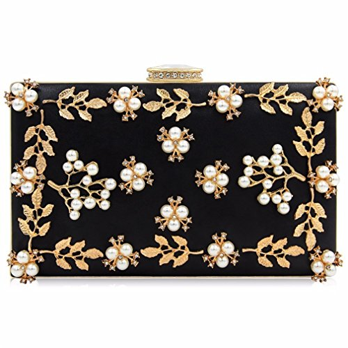 Bag Black Clutches Wedding Female Party Flower Bags Women Ladies Clutch Purses Beaded Evening ULKpiaoliang tqOaAwS