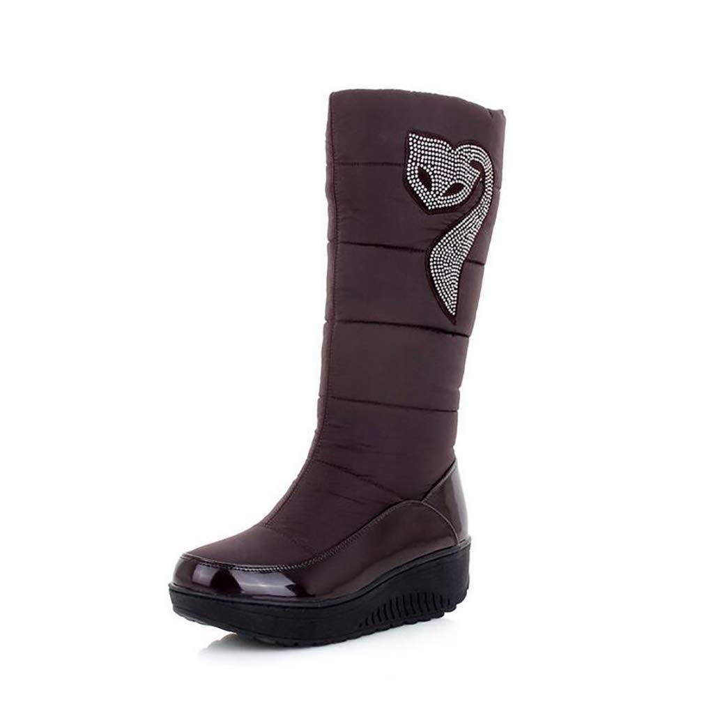 Hy Frauen Winter Stiefel Künstliche PU Flache Schneeschuhe Stiefel Runde Kappe Casual Stiefel/Damen Slip-Ons Skifahren Schuhe Im Freien Snowsports (Farbe : Braun, Größe : 35)