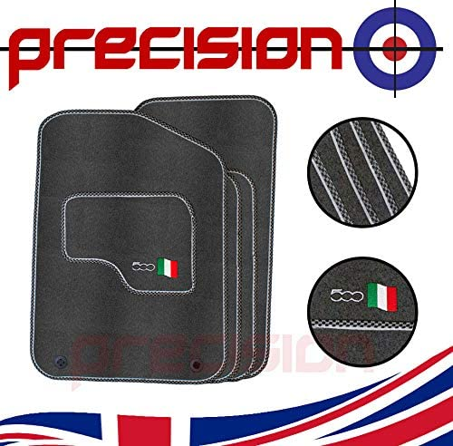 Precision Tailor Fitted Classic Grey Car Mats with 500 Logo /& Sports Check for Ḟiat 500 2013-2018 PN.SSGYQ50064SPCH